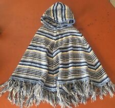 SWEATER PROJECT Blue Stripped Women's Hooded Poncho