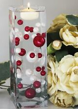34 ANTIQUE WHITE & RED Pearl Beads for Beautiful Vase  Decor W/FREE JellybeadZ
