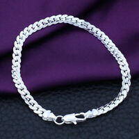 "Silver Plated Jewelry Men Women Ladies Bracelet Bangle Cheap Wholesale 7.5"" W6T8"