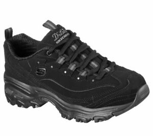 Skechers Dlites Black Wide Fit Shoe Women Sport Casual Comfort Memory Foam 11949