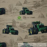 BonEful FABRIC FQ Cotton Quilt Brown Green Tractor John Deere Farm Field Holiday
