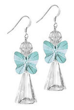 STERLING SILVER 925 & SWAROVSKI CRYSTAL EARRING KIT, LIGHT TURQUOISE ANGEL