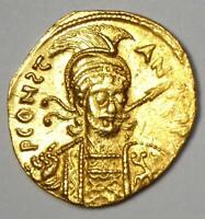 Byzantine Constantine IV Pogonatus AV Solidus Gold Coin 668-685 AD. AU Condition