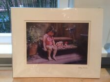 """New Signed Print """"Childhood"""" by Marge Faucher - Sweet Little Girl with Dolls"""