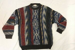 "Vintage ""Coogi Style"" Norm Thompson Tundra Multi-Color Sweater 3D  Size Large"