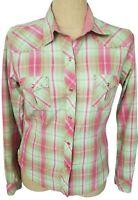 Panhandle Slim Pink Green Plaid Western Rodeo Snap Long Sleeve Shirt Top Large
