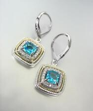 EXQUISITE 18kt White Gold Plated Blue Topaz CZ Crystal Petite Leverback Earrings