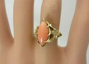 14k Yellow Gold and Pink Mediterranean Coral Ring 14 x 6 mm.