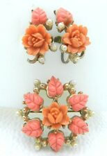 VTG Gold Tone Carved Coral Celluloid Rose Flower Faux Pearl Earrings & Brooch