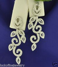 ct Natural Diamond Earring Cluster chandelier 18k Solid White Gold Dangling 2.75