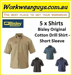5 x SHIRTS BISLEY WORKWEAR - Cotton Drill Work Shirt - Short Sleeve BS1433