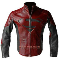 Superman Black and Red Men's Smallville Embossed Logo Leather Jacket