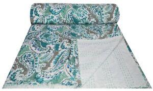 Indian Green Paisley Print Kantha Quilt Twin Size Throw Bedspread Boho Bohemian