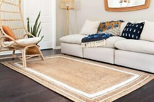 9x12 feet square indien braided natural jute runner rug with white boarder floor