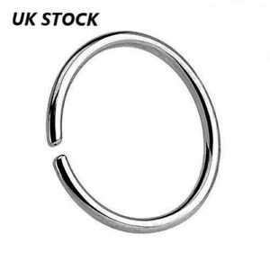 Solid 925 Sterling Silver Nose Ring Hoop Cartilage Tragus Piercing