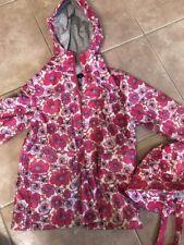 Lands End Pink Floral Rain Coat Girls 4 4t Hat Jacket