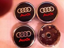 AUDI ALLOY WHEELS CENTER CAPS SET (4) RED/BLACK Face 60mm Clip 58mm