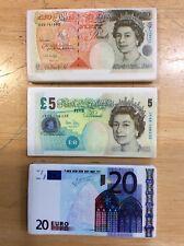 Bank Note Eraser Rubbers- £5, £50 & 20 Euro.