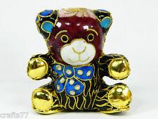 Vintage Chinese Cloisonne Copper Enamel Animal Lovely Baby Bear Figurine