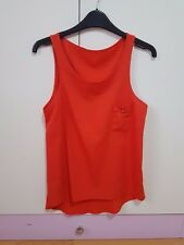 Orange Coral Vest Sleeveless Top With Front Pocket SIZE 10 NEW Womens