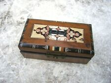 Antique wood box with PIETRA DURA inlay / Souvenir from Karlsbad