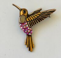 Vintage Hummingbird Pin Brooch In Enamel on gold tone metal with crystals