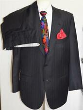 Stylish! Kiton Italy 100% Diamante Blu Super 150's Wool Pinstriped SB Suit 46R