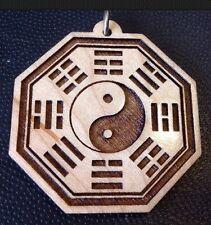OM Bagua Yin Yang Taoist Maple wood Round pendant Rope Necklace Spiritual #Gift