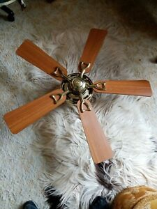 Ceiling Fan Excellent Condition Hunter Brass And Wood Effect