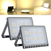 2X 50W Slim Warm White LED Flood Light Outdoor Yard Security lighting Lamp 110V