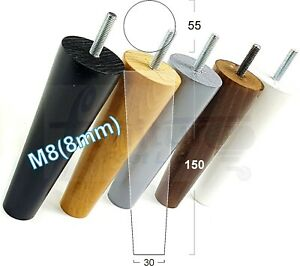 4x ROUND TAPERED WOODEN LEGS 150mm High CHAIR REPLACEMENT FURNITURE FEET M8(8mm)