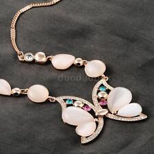 ROXI Crystal Rhinestone Opal Butterfly Pendant Necklace Chain Women Jewelry O8L4