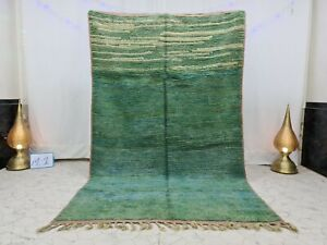 "Boujaad Vintage Handmade Moroccan Rug 5'6""x9"" Berber Wool Solid Green Rug"