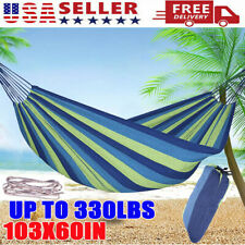 Double 2 Person Cotton Rope Hanging Hammock Swing Camping Canvas Bed w/ Straps