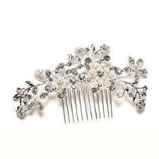 Crystal Rhinestone Wedding Flower Pearls Hair Clip Hair Comb For Women Bride M&C