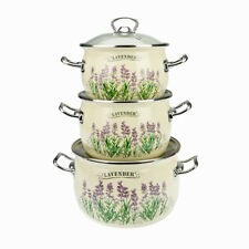 6 Pc Enamel Cookware Set Casserole Pots Lid Soup Stockpot Lavender Pan Cream New