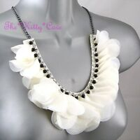 Chic Cream White Ruffle Flower Corsage Beaded Bib Necklace W/ Swarovski Crystals