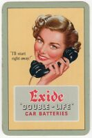 Playing Cards 1 Single Card Old EXIDE Car Batteries Advertising TELEPHONE GIRL