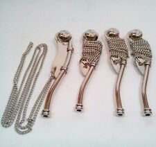 Lot Of 4 Pcs Nautical Antique Brass Silver Boatswain'S Pipe Bosun Whistle Gift