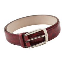 New $1600 BRIONI Dark Red Genuine Crocodile Belt with Silver Buckle 36