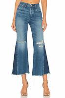 3x1 NYC Womens High waist Crop Flare wide  Denim Jeans Medium wash Sz 26 $270