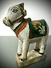 ANTIQUE / VINTAGE INDIAN WOODEN TOY. NANDI THE BULL. SHIVA'S VEHICLE OR VAHANA.