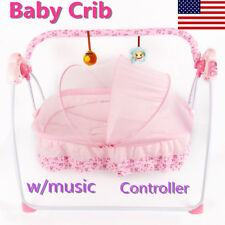 Electric Baby Swing Rocker Cot Infant Sleeping Bed Cradle Auto Baby Crib w/music