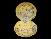VINTAGE PAIR CHINESE FAMILLE JAUNE PORCELAIN PLATES / LOW BOWLS FLOWERS ANIMALS