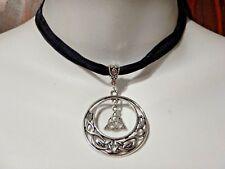 TRIQUETRA BLACK VELVET CHOKER band necklace Celtic knot Silver trinity pagan Z8
