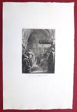 Eau-forte originale, Hérétiques devant le tribunal, Moyse, Cadart, XIXe