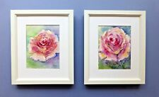 "Pair of Original Framed Line and Watercolour Wash ""Old World Roses""."