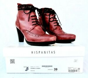 Hispanitas Ladies Cherry Red  Leather Lace Up Ankle Boots UK 6 EU 39 Boxed