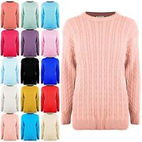 New Ladies Oversized Cable Knit Chunky Baggy Jumper