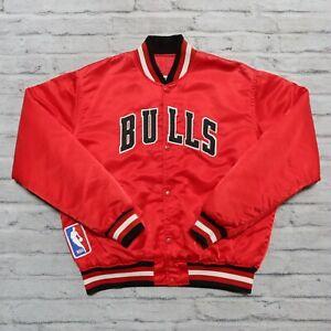 Vintage 90s Chicago Bulls Satin Jacket by Starter Size L Red